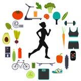 Silhouet van een vrouw die lopen die, door pictogrammen van gezond voedsel wordt omringd, groenten en sportuitrusting voor versch vector illustratie