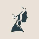 Silhouet van een vrouwelijk hoofd De mening van de voorzijde royalty-vrije illustratie