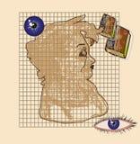Silhouet van een vrouwelijke hoofdstudentenachtergrond Stock Afbeeldingen