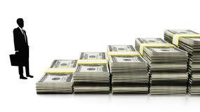 Silhouet van een zakenman door dollars die treden vormen 3D Illustratie Stock Foto's