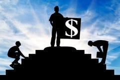 Silhouet van een zakenman op bovenkant Royalty-vrije Stock Foto's