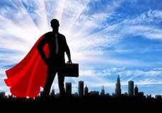 Silhouet van een zekere supermanzakenman met een aktentas stock illustratie