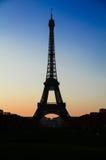 Silhouet van Eiffel Royalty-vrije Stock Foto's