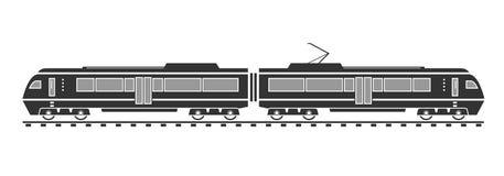 Silhouet van elektrische trein Royalty-vrije Stock Fotografie