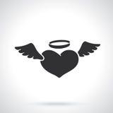 Silhouet van engelenhart met vleugels royalty-vrije illustratie