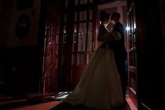 Silhouet van enkel echtpaar het koesteren stock afbeelding