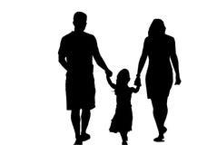Silhouet van Familie Stock Afbeelding