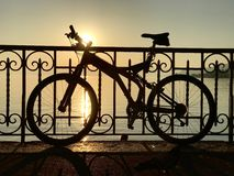 Silhouet van fiets Stock Foto