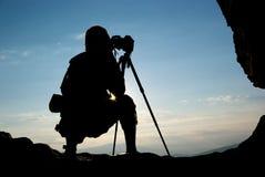 Silhouet van fotograaf Stock Fotografie