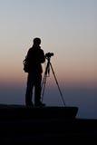 Silhouet van fotograaf. Stock Fotografie