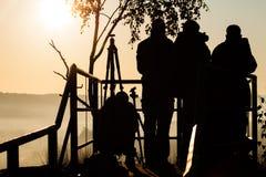 Silhouet van fotografen royalty-vrije stock foto's