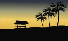 Silhouet van gazebo in heuvels Stock Foto's