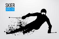 Silhouet van geïsoleerde skiër Vector illustratie