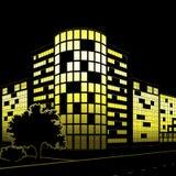 Silhouet van gebouwen en straten bij nacht Stock Afbeelding