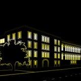 Silhouet van gebouwen en straten bij nacht royalty-vrije illustratie