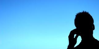 Silhouet van Gebruiker Cellphone Royalty-vrije Stock Foto's