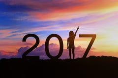 Silhouet van Gelukkig nieuw jaar 2017 Stock Afbeelding