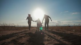 Silhouet van gelukkige familie die die met de bal op weide in de zonsondergangtijd spelen Concept vriendschappelijke familie stock videobeelden