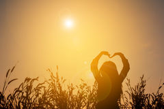 Silhouet van gelukkige vrouwen Stock Foto's
