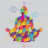 Silhouet van geometrische vormen Yoga in aard Chakrayoga Stock Foto's
