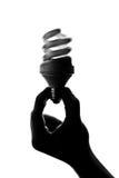 Silhouet van hand die spiraalvormige lamp houdt Stock Afbeeldingen