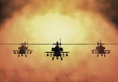 Silhouet van helikopter, de helikopterverrichtingen van de militairenredding op de achtergrond van de zonsonderganghemel Helikopt stock illustratie