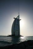 Silhouet van het al Burj Arabische hotel royalty-vrije stock afbeelding