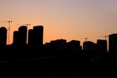 Silhouet van het gebouw stock foto's