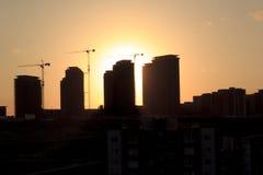 Silhouet van het gebouw stock fotografie