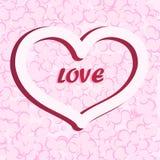 Silhouet van het hart Retro illustratie Uitstekende kaart, affiche, banner Stock Foto's