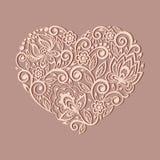 Silhouet van het hartsymbool met Flor wordt verfraaid die Royalty-vrije Stock Fotografie