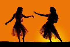 Silhouet van het Hawaiiaanse de rokken van het vrouwengras dansen Royalty-vrije Stock Foto