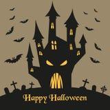 Silhouet van het kasteel en de knuppels van Halloween stock illustratie