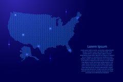 Silhouet van het land van de V.S. van golvende blauwe ruimte sinusoid lijnen Stock Afbeelding