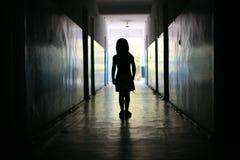 Silhouet van het meisje Stock Foto
