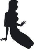 Silhouet van het meisje Stock Afbeeldingen