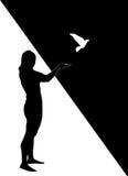 Silhouet van het meisje met duif Stock Afbeelding