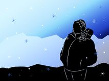 Silhouet van het meisje op een achtergrond van bergen Royalty-vrije Stock Foto's