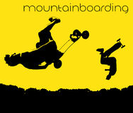 Silhouet van het mountainboarding Royalty-vrije Stock Foto's