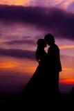 Silhouet van het Omhelzen van Aziatische Bruid en Bruidegom bij Zonsondergang stock fotografie