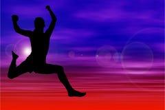 Silhouet van het Springen van de Vrouw tegen Hemel Royalty-vrije Stock Afbeelding
