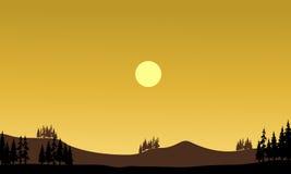 Silhouet van heuvels bij middag Stock Fotografie