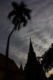 Silhouet van historische plaats in Ayutthaya Royalty-vrije Stock Afbeelding