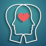 Silhouet van hoofd met hartsymbool Stock Afbeelding