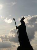 Silhouet van HoofdMercier in Brussel Stock Foto