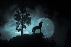 Silhouet van huilende wolf tegen donkere gestemde mistige achtergrond en volle maan of Wolf in silhouet die aan de volle maan hui royalty-vrije stock foto's