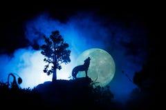 Silhouet van huilende wolf tegen donkere gestemde mistige achtergrond en volle maan of Wolf in silhouet die aan de volle maan hui Stock Foto