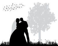 Silhouet van huwelijk Stock Foto