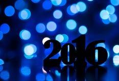 Silhouet van inschrijving van het jaar van 2016 Royalty-vrije Stock Fotografie