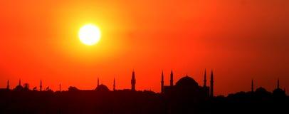 Silhouet van Istanboel Stock Foto's